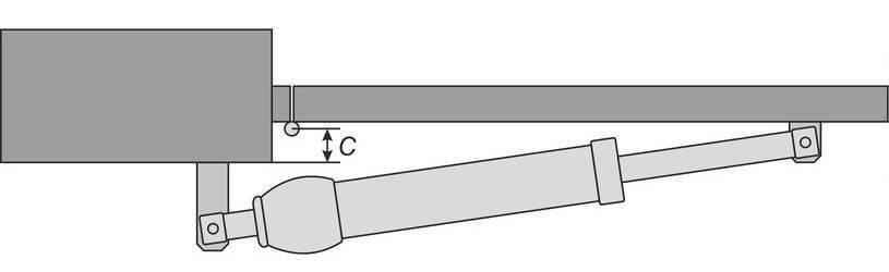 Автоматика для распашных ворот: параметр «C» при открывании вовнутрь