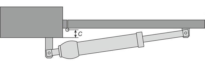 Автоматика для розпашних воріт: параметр «C» при відкриванні усередину