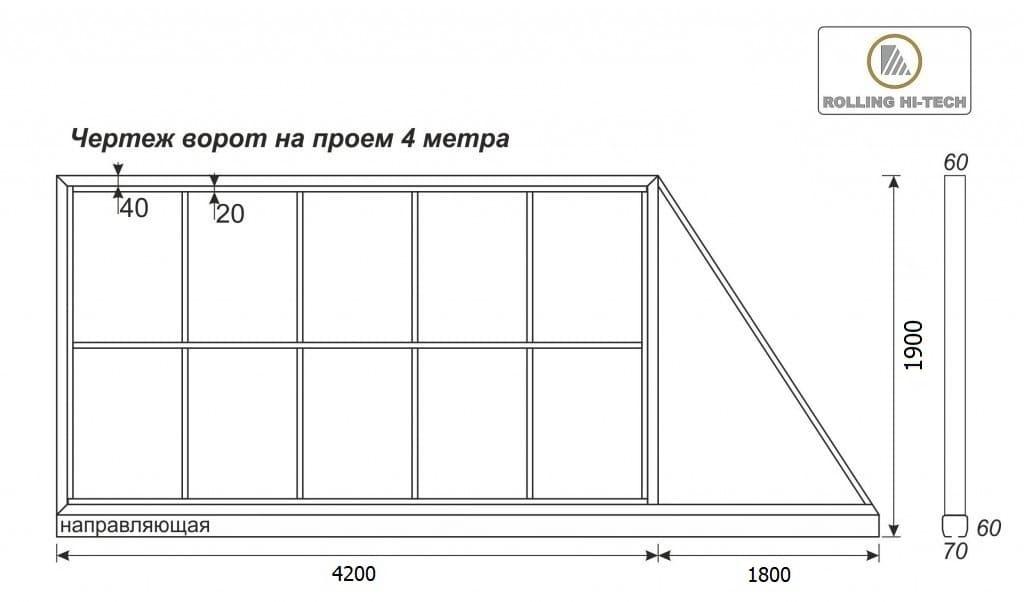 Откатные ворота: чертеж